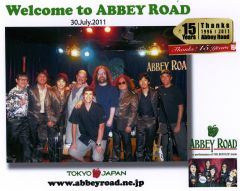 Rob K., Jeff, Rob B., and Nick at Abby Road in Japan